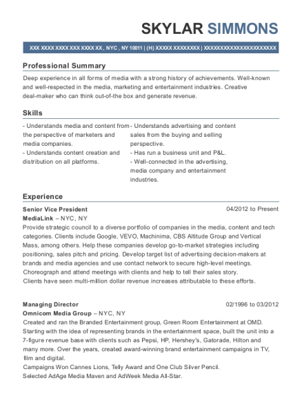 Media Planner Resume - A Good Resume Example •