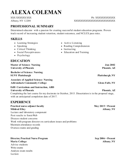 People Also Search For Customize Resume View Practical Nurse Adjunct Faculty