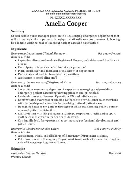 Best Emergency Department Nurse Extern Resumes Resumehelp