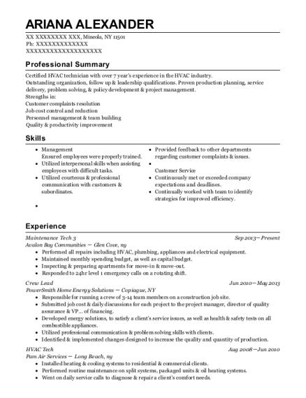 Ipc Maintenance Tech 3 Resume Sample - Alexandria Louisiana   ResumeHelp