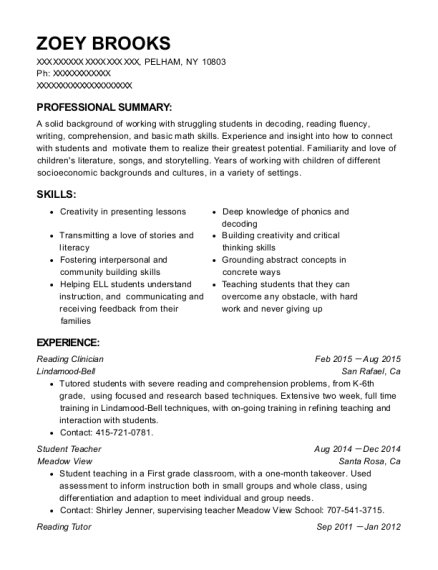resume for working with children