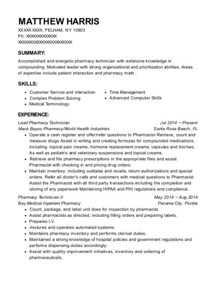 best registered pharmacy technician resumes resumehelp
