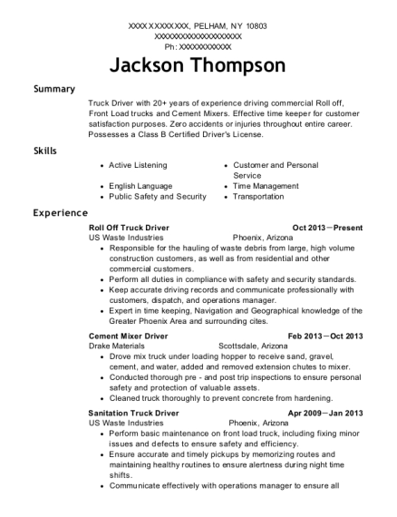 ... Roll Off Truck Driver. Customize Resume · View Resume