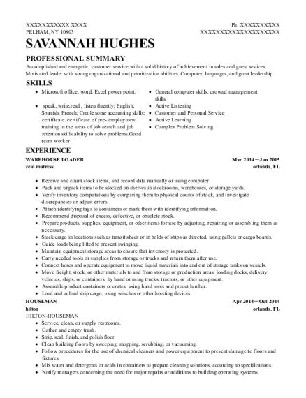 pepsi cola warehouse loader resume sample