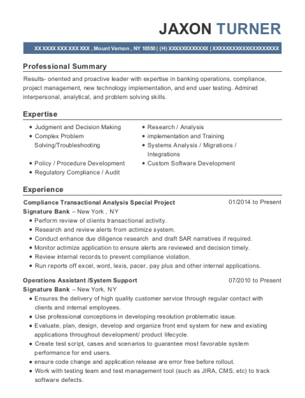 jaxon turner - Head Teller Resume