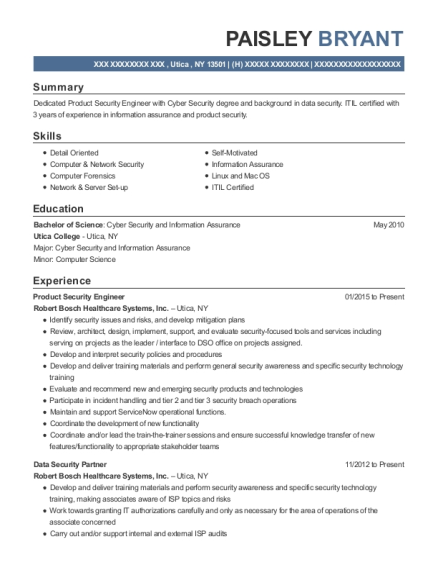 Robert Bosch Healthcare Systems Product Security Engineer Resume ...