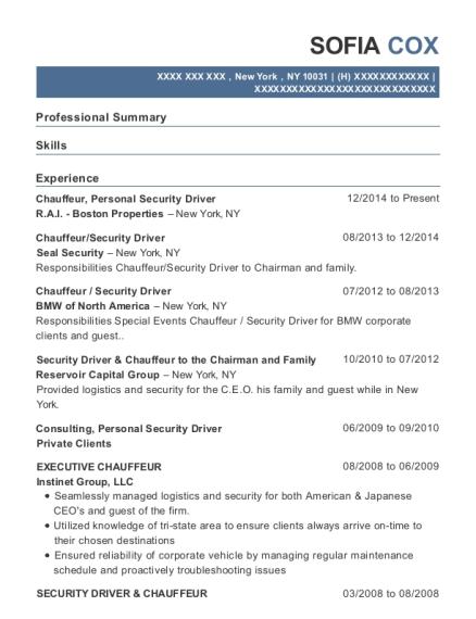 Best Executive Chauffeur Resumes | ResumeHelp