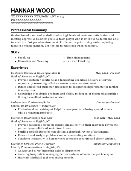 Bank Of America Customer Service & Sales Specialist Ii Resume Sample ...
