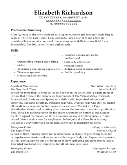 The New York Times Assistant News Editor Resume Sample - Westfield ...