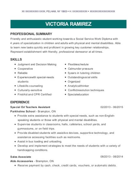 Parkholme School Special Ed Teachers Assistant Resume Sample ...