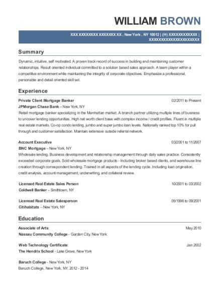 Jpmorgan Chase Bank Private Client Mortgage Banker Resume Sample