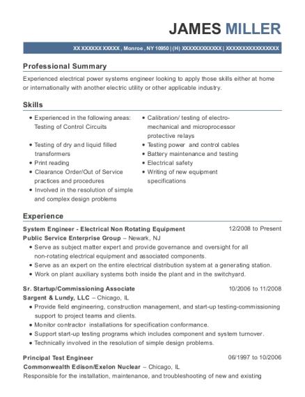 public service enterprise group system engineer electrical non