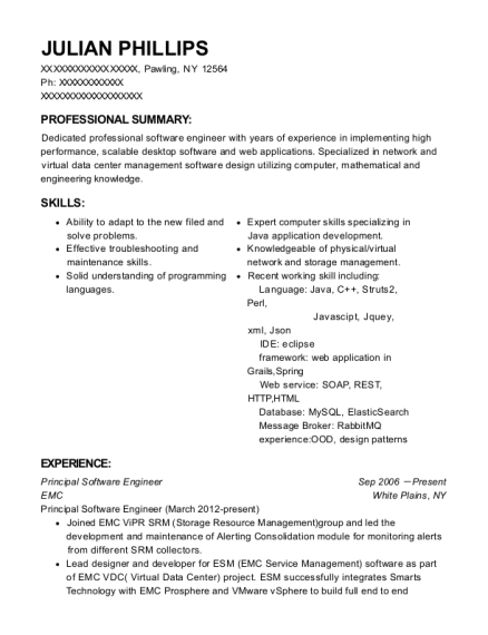emc principal software engineer resume sample pawling new york