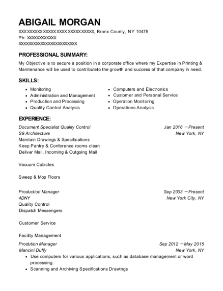 best document specialist quality control resumes resumehelp