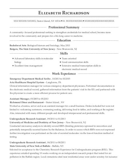 best emergency department medical scribe resumes resumehelp
