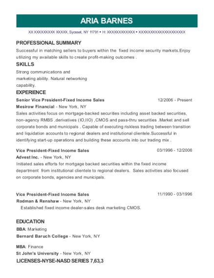 mesirow financial senior vice president fixed income sales resume