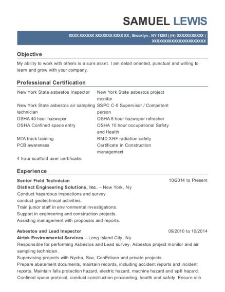 Distinct Engineering Solutions Senior Field Technician Resume Sample ...