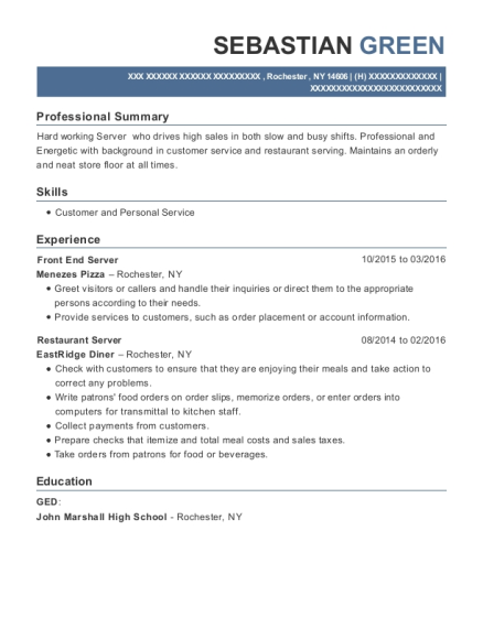 menezes pizza front end server resume sample rochester new york