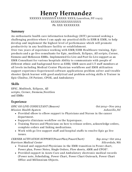 Best Epic Implementation Specialist(inpatient) Resumes | ResumeHelp