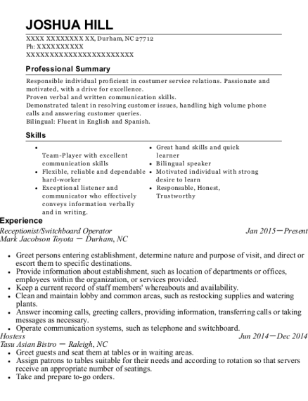 joshua hill - Switchboard Operator Resume