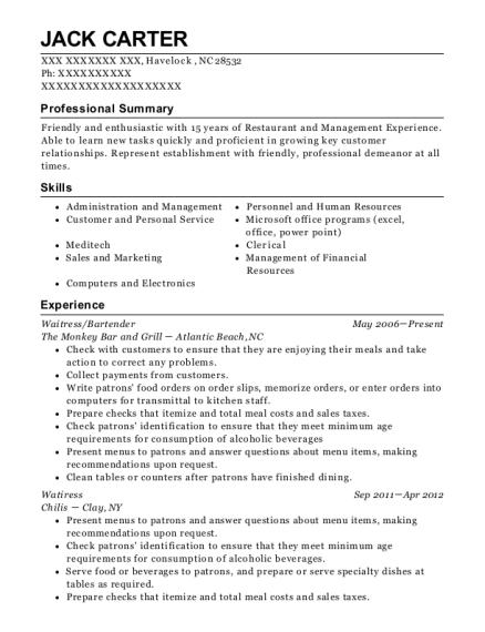 bartender resume summary
