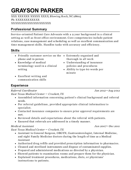 east texas medical center referral coordinator resume sample