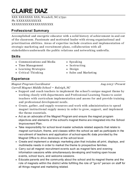 Claire Diaz  Program Coordinator Resume
