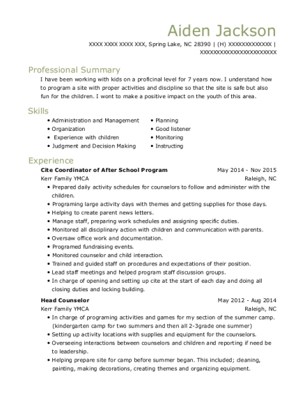 view resume cite coordinator of after school program