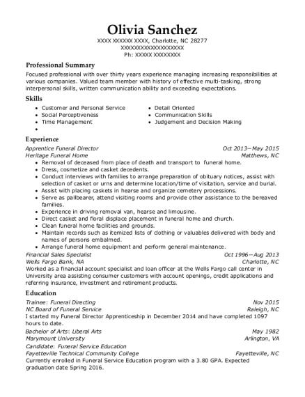 view resume apprentice funeral director