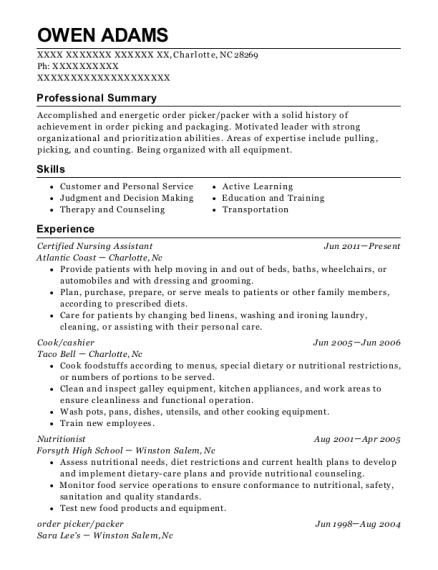 Owen Adams  Warehouse Packer Resume