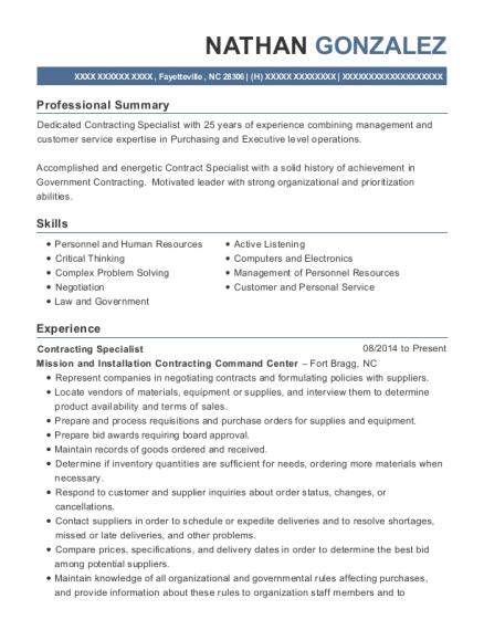 best contracting specialist resumes resumehelp