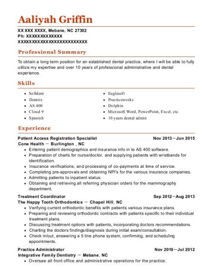 View Resume. Patient Access Registration Specialist