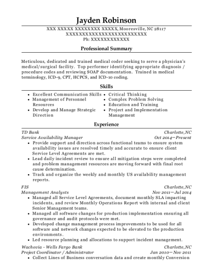 td bank service availability manager resume sample
