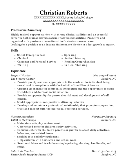 view resume - Nursery Attendant Sample Resume