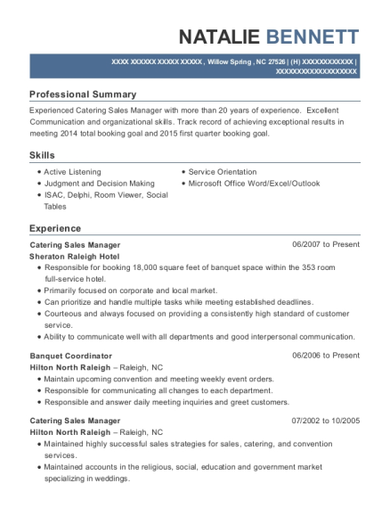 director of sales and catering customize resume view resume