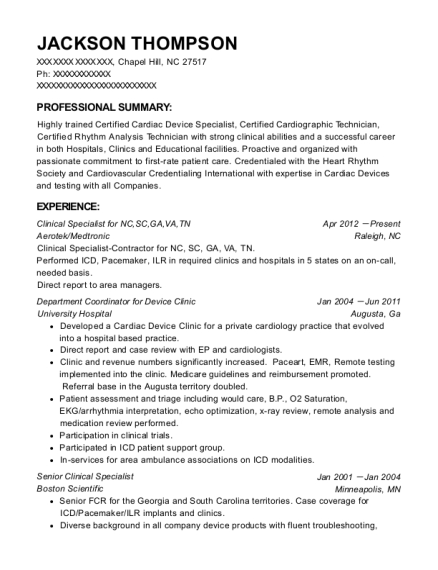 Medtronic Senior Clinical Specialist Resume Sample - Rockville ...