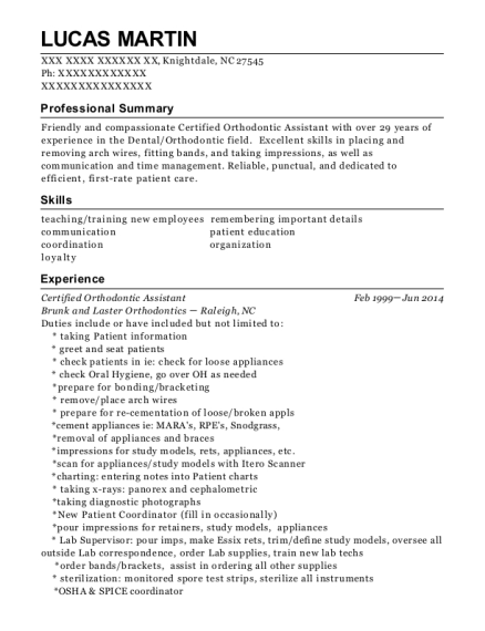 Orthodontic Assistant Resume dentist assistant resume View Resume Certified Orthodontic Assistant