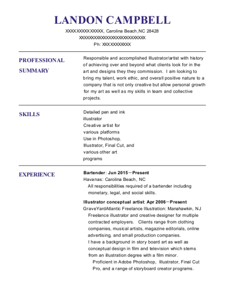 landon campbell - Bar Manager Resume