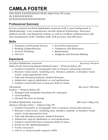 ophthalmic assistant resumes