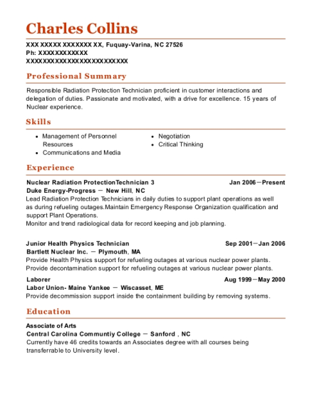 Duke Energy Progress Nuclear Radiation Protectiontechnician 3 Resume ...