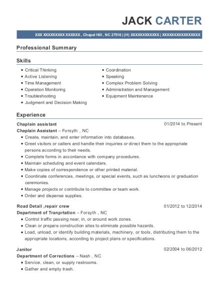View Resume. Chaplain Assistant
