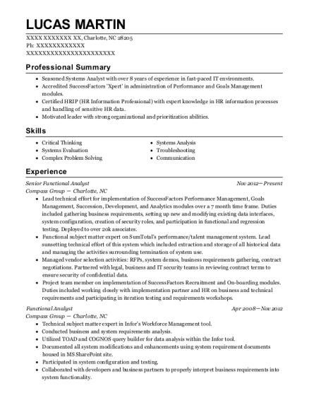 functional analyst resumes