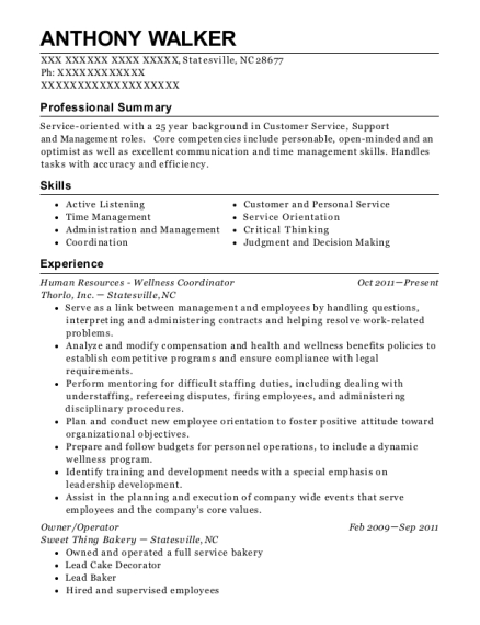 View Resume Human Resources Wellness Coordinator
