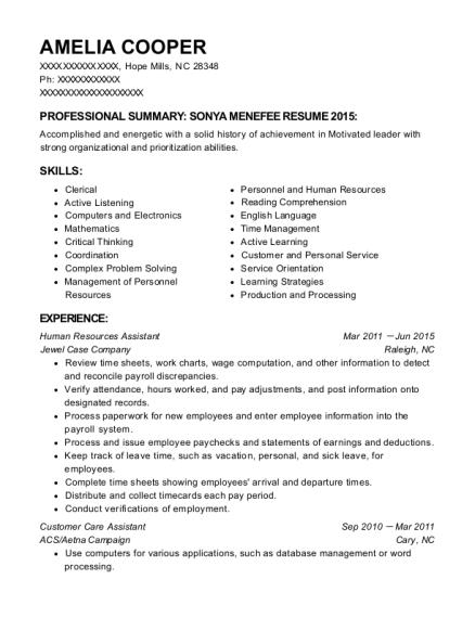 hr coordinator resume sample