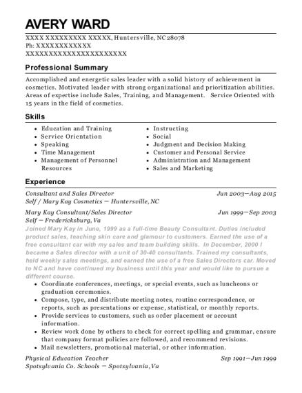Best Mary Kay Consultant Sales Director Resumes Resumehelp