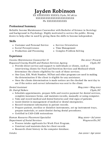 best income maintenance caseworker resumes
