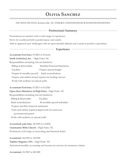Youth Unlimited Accountant Part Time Resume Sample - Kernersville ...