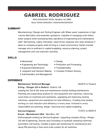 Best Processtooling Engineer Resumes ResumeHelp