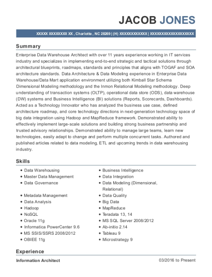 teksystems bank of america information architect resume sample