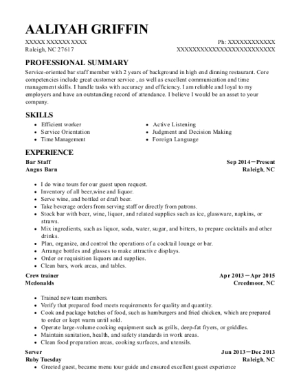 Galaxy Luxury Plus Bar Staff Resume Sample Modesto California